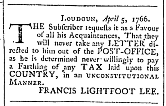 May 16 - Lee 5:16:1766 Rind's Virginia Gazette