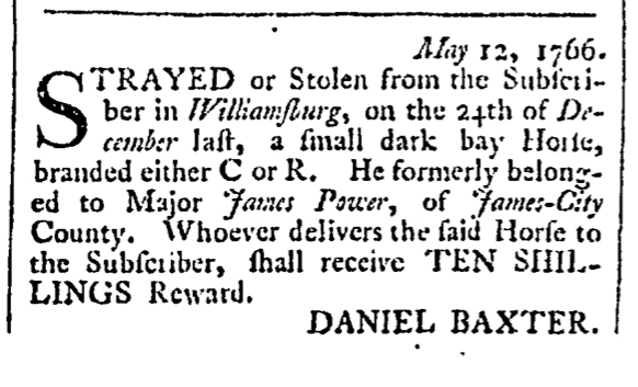 May 16 - Stray Horse 5:16:1766 Rind's Virginia Gazette