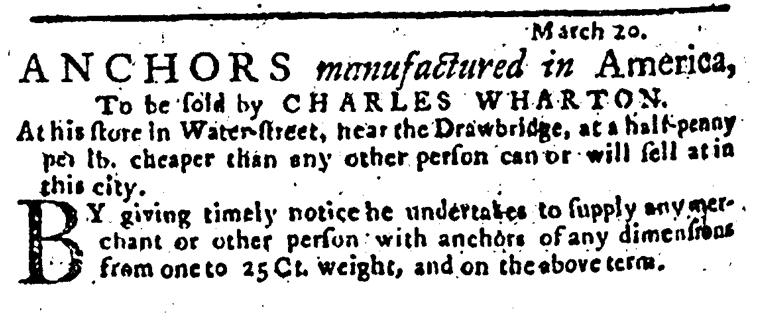 May 8 - Wharton 5:8:1766 Pennsylvania Journal