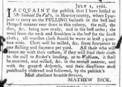 Jul 5 - 7:4:1766 Virginia Gazette