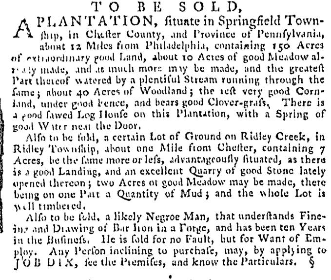 Apr 2 - Pennsylvania Gazette Supplement Slavery 1