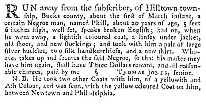 Apr 2 - Pennsylvania Gazette Supplement Slavery 2