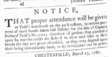 Apr 2 - Virginia Gazette Slavery 1