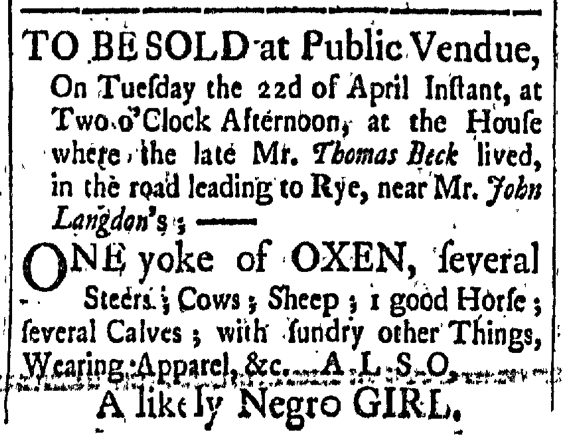 Apr 3 - New-Hampshire Gazette Slavery 1