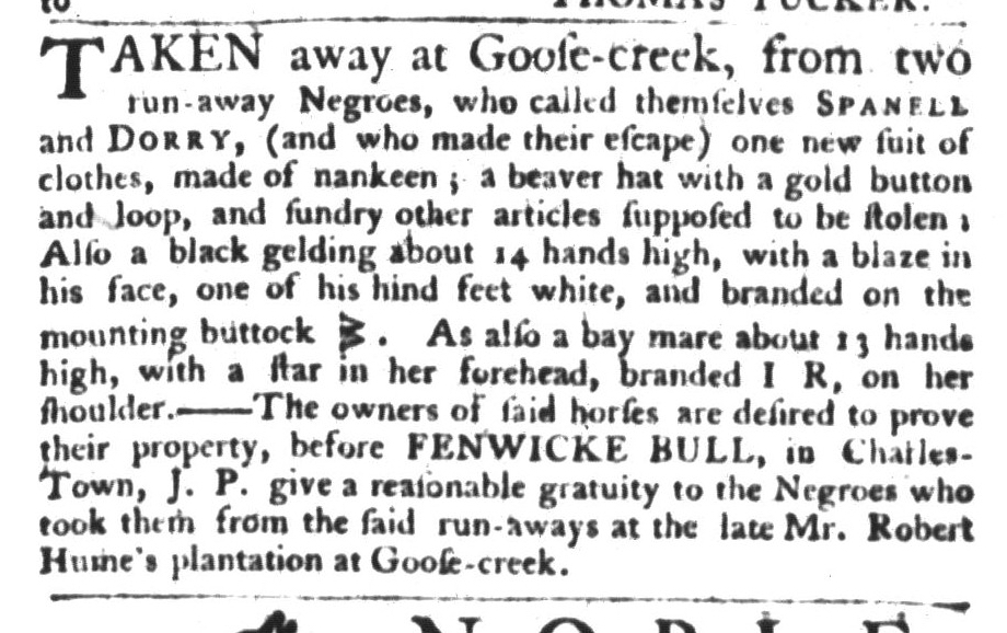 Apr 7 - South Carolina Gazette and Country Journal Slavery 6