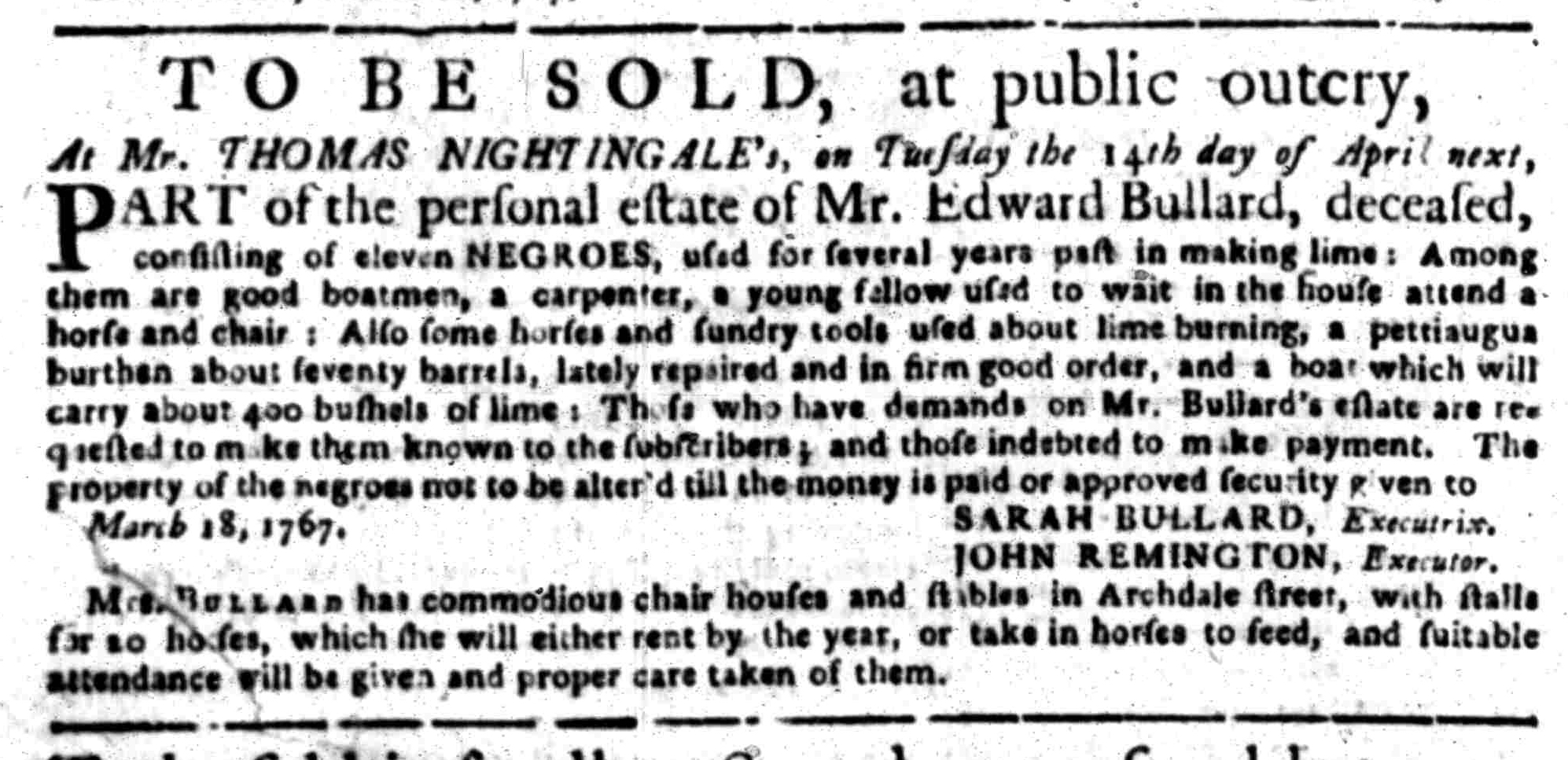 Mar 16 - South Carolina Gazette Slavery 1