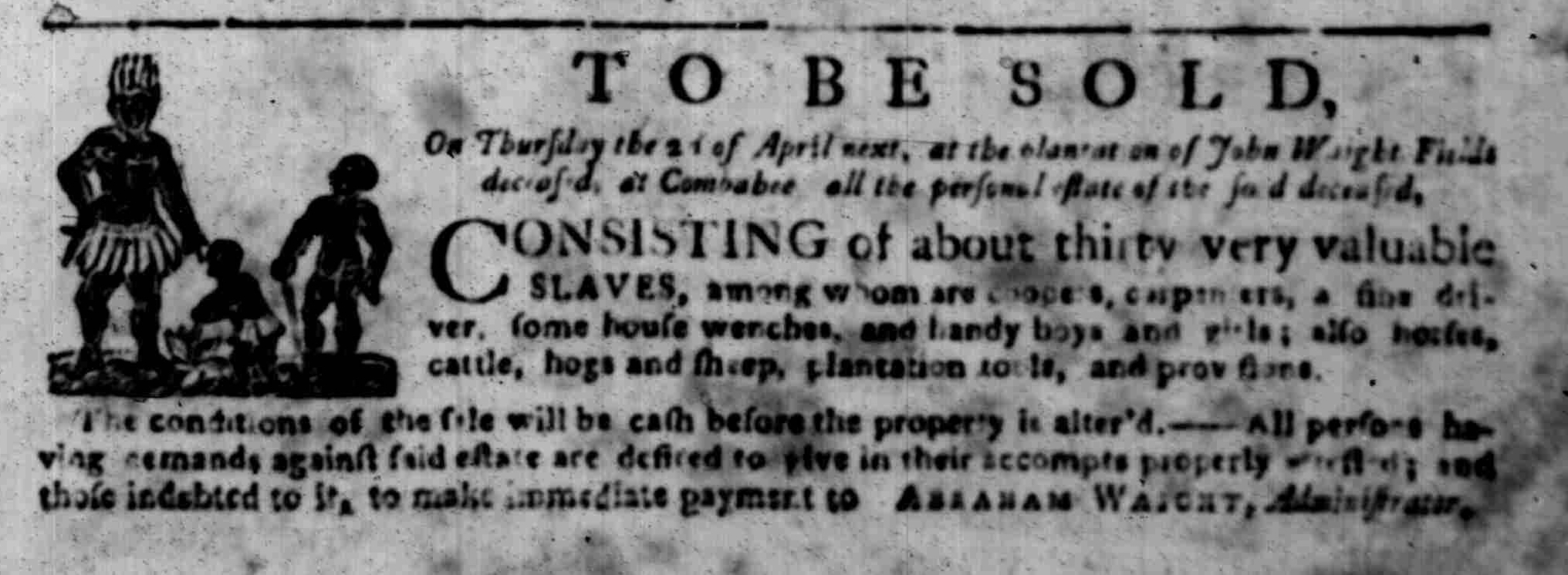 Mar 16 - South Carolina Gazette Supplement Slavery 3