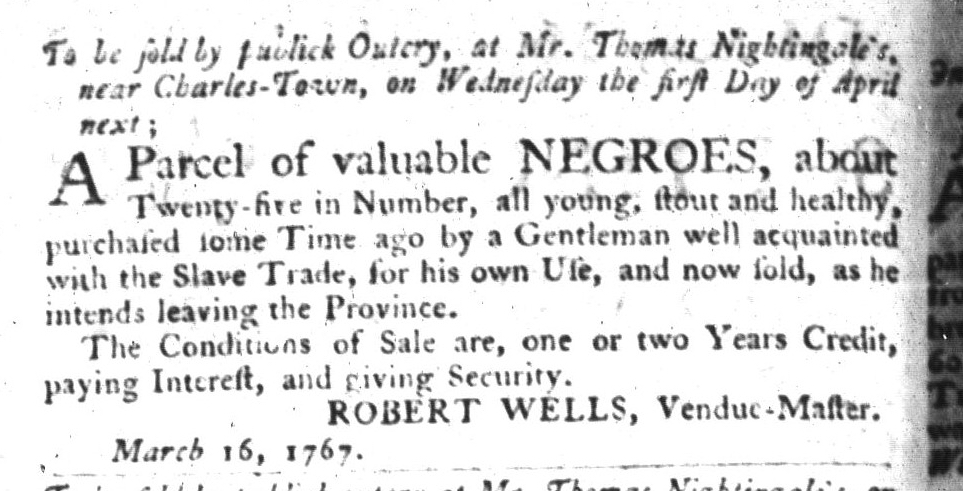 Mar 17 - South-Carolina Gazette and Country Journal Slavery 1