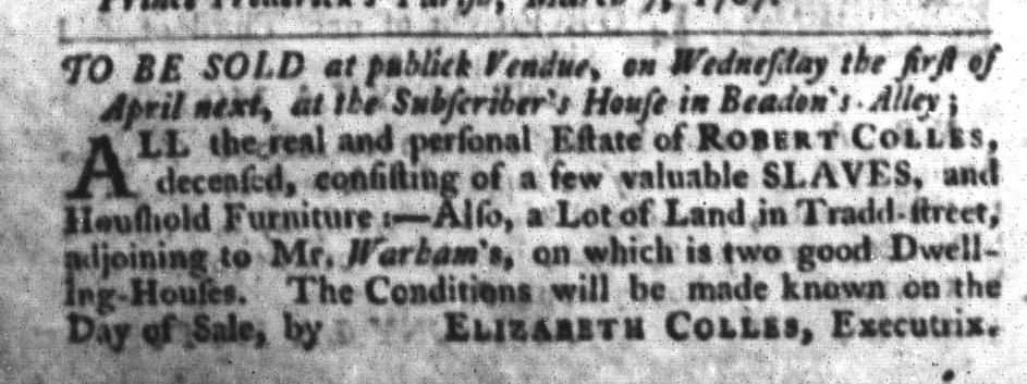 Mar 17 - South-Carolina Gazette and Country Journal Slavery 12