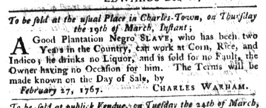 Mar 17 - South-Carolina Gazette and Country Journal Supplement Slavery 1