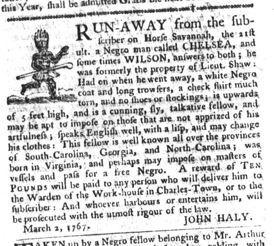Mar 17 - South-Carolina Gazette and Country Journal Supplement Slavery 9