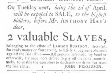 Mar 26 - Virginia Gazette Slavery 1