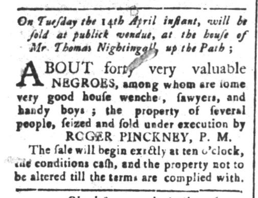 Apr 10 - South-Carolina and American General Gazette Slavery 1