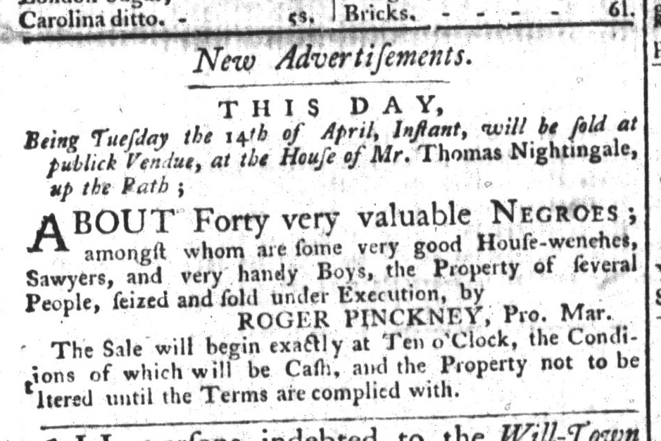 Apr 14 - South-Carolina Gazette and Country Journal Slavery 1