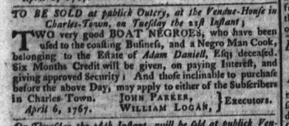 Apr 14 - South-Carolina Gazette and Country Journal Slavery 6