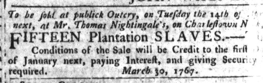 Apr 14 - South-Carolina Gazette and Country Journal Slavery 8