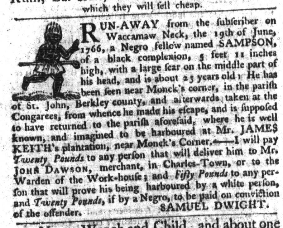 Apr 14 - South-Carolina Gazette and Country Journal Supplement Slavery 1