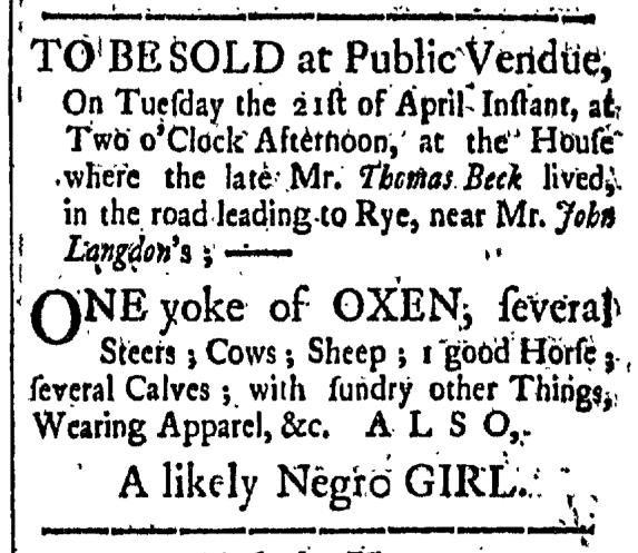 Apr 17 - New-Hampshire Gazette Slavery 1