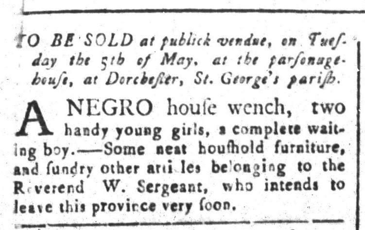 Apr 17 - South-Carolina and American General Gazette Slavery 1