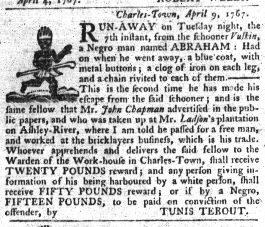 Apr 21 - South-Carolina Gazette and Country Journal Slavery 10