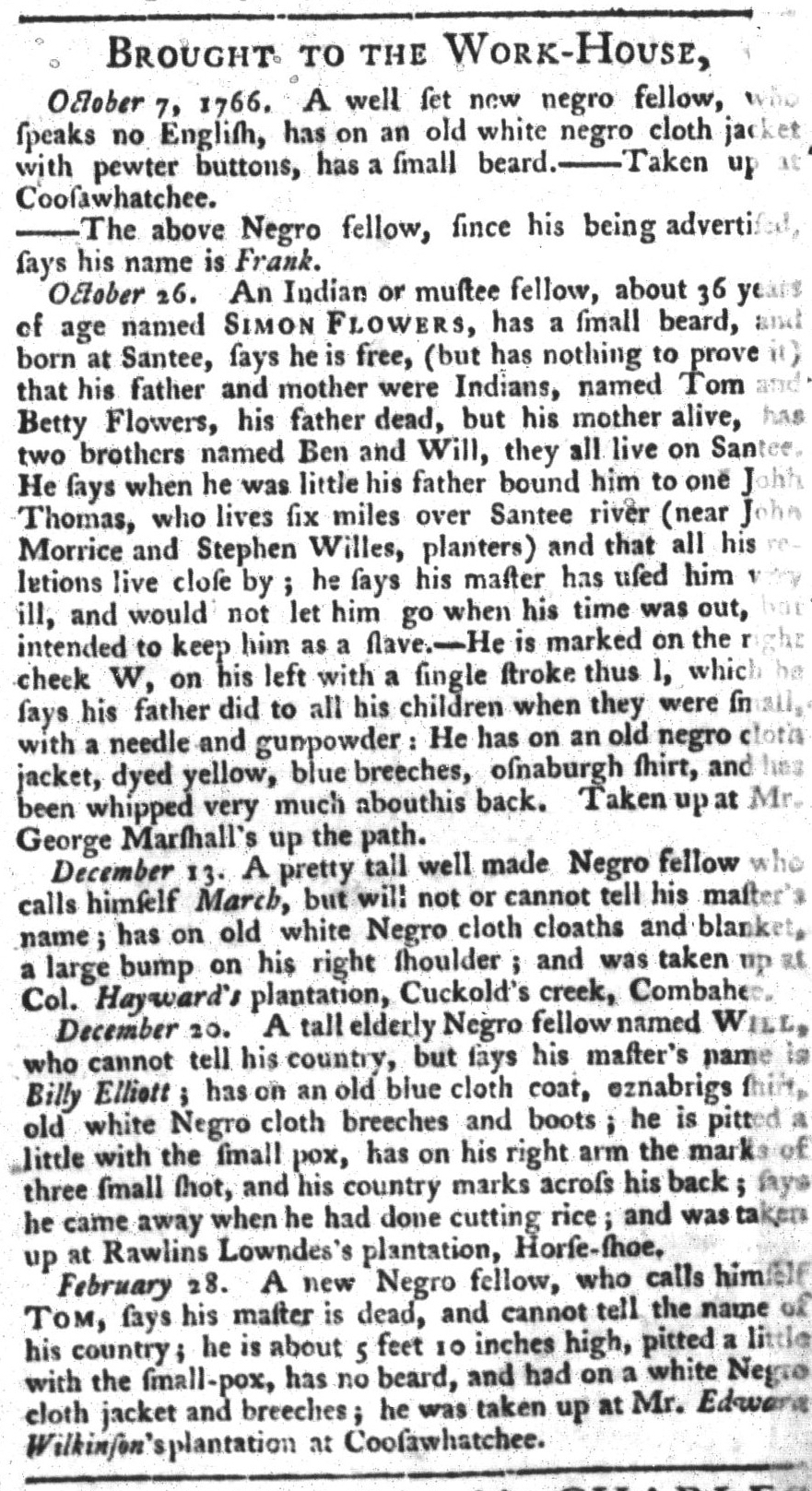 Apr 21 - South-Carolina Gazette and Country Journal Slavery 12