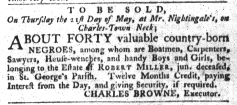 Apr 21 - South-Carolina Gazette and Country Journal Slavery 2