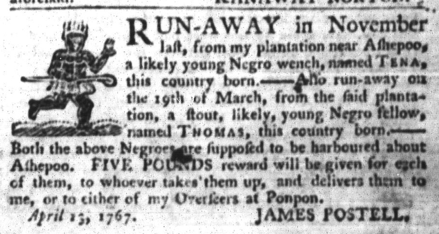 Apr 21 - South-Carolina Gazette and Country Journal Slavery 3