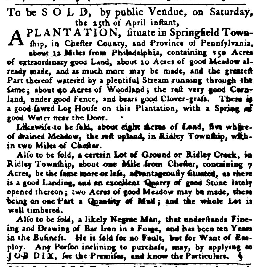 Apr 23 - Pennsylvania Gazette Slavery 2