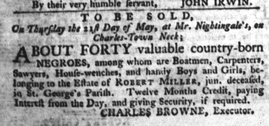 Apr 28 - South-Carolina Gazette and Country Journal Slavery 9