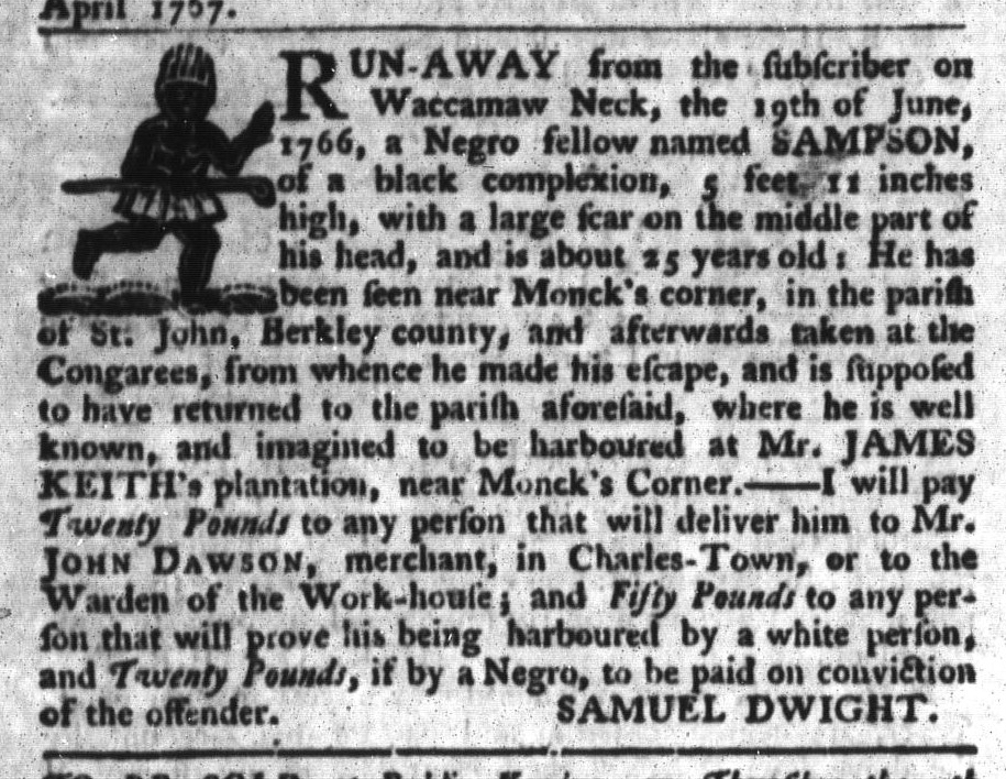 Apr 28 - South-Carolina Gazette and Country Journal Supplement Slavery 4