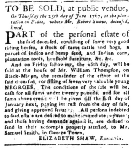 Jun 1 - South Carolina Gazette Slavery 4
