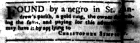 Jun 1 - South Carolina Gazette Supplement Slavery 2