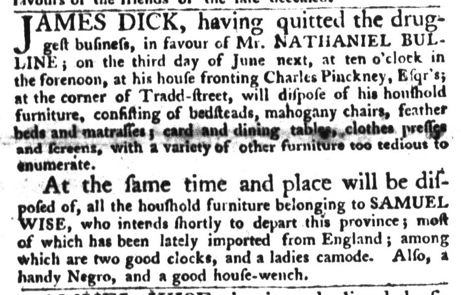 Jun 2 - South-Carolina Gazette and Country Journal Slavery 4