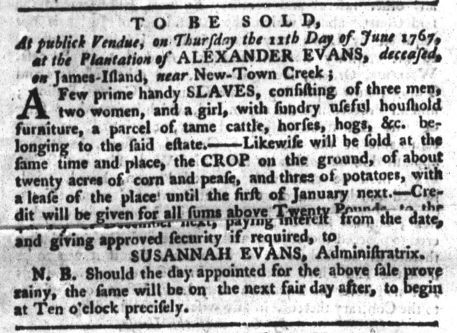 Jun 2 - South-Carolina Gazette and Country Journal Supplement Slavery 5