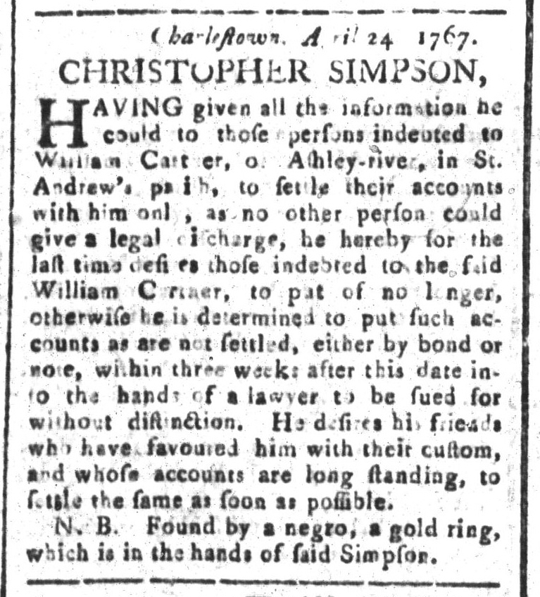 May 1 - South-Carolina and American General Gazette Slavery 9