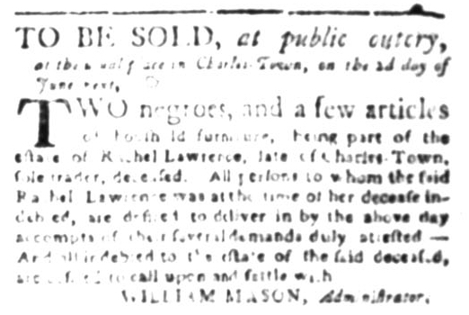 May 11 - South Carolina Gazette Slavery 3