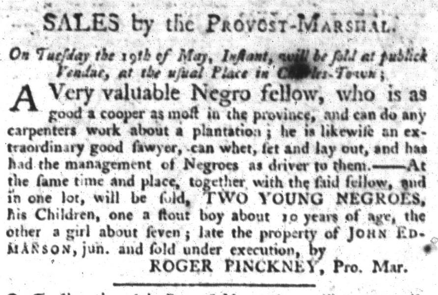 May 12 - South-Carolina Gazette and Country Journal Slavery 6