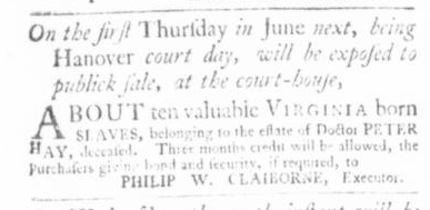 May 14 - Virginia Gazette Slavery 1