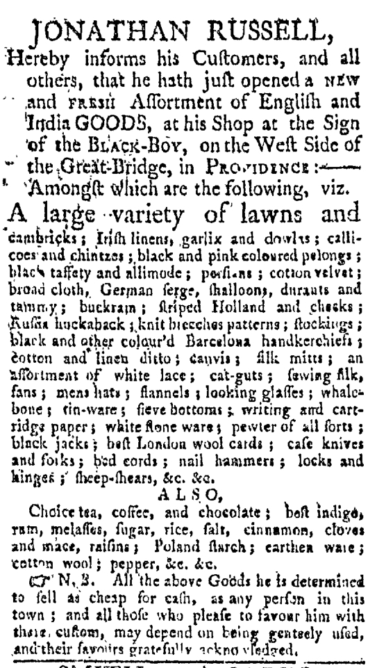 May 16 - Providence Gazette Slavery 1