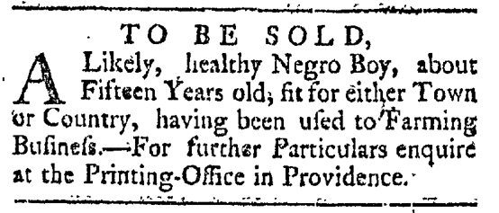 May 16 - Providence Gazette Slavery 3