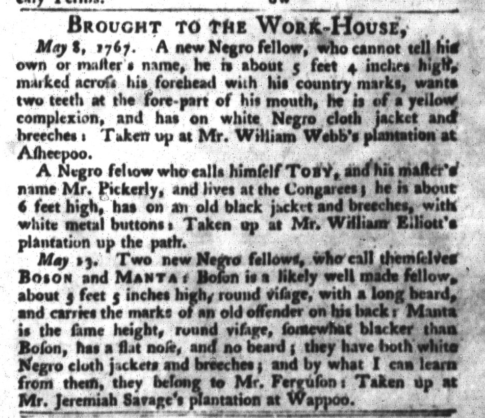 May 19 - South-Carolina Gazette and Country Journal Slavery 14