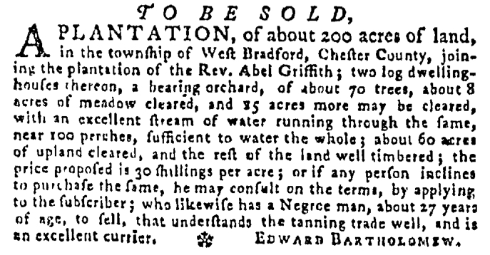 May 21 - Pennsylvania Gazette Supplement Slavery 3
