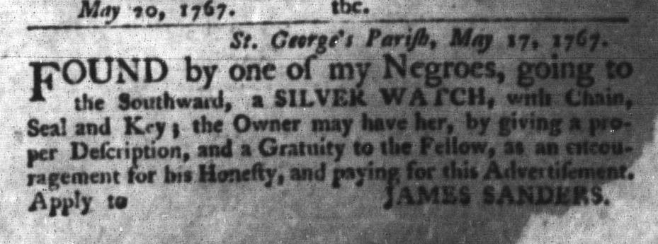 May 26 - South-Carolina Gazette and Country Journal Slavery 12