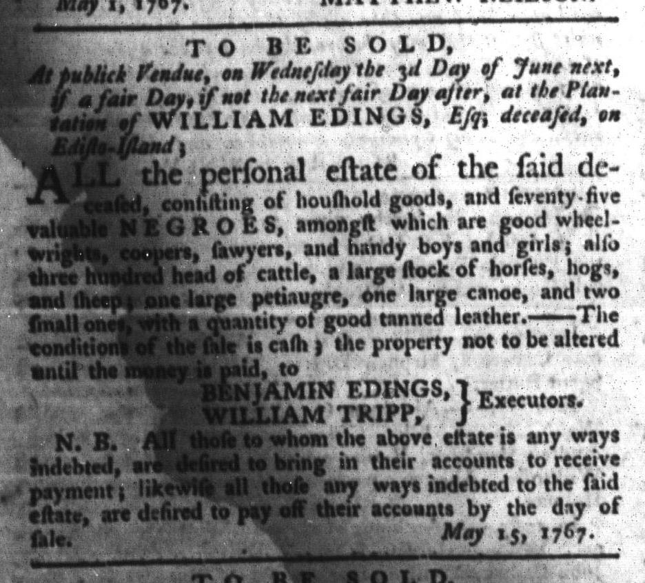 May 26 - South-Carolina Gazette and Country Journal Slavery 7