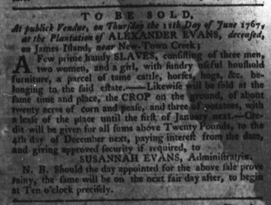 May 26 - South-Carolina Gazette and Country Journal Slavery 8