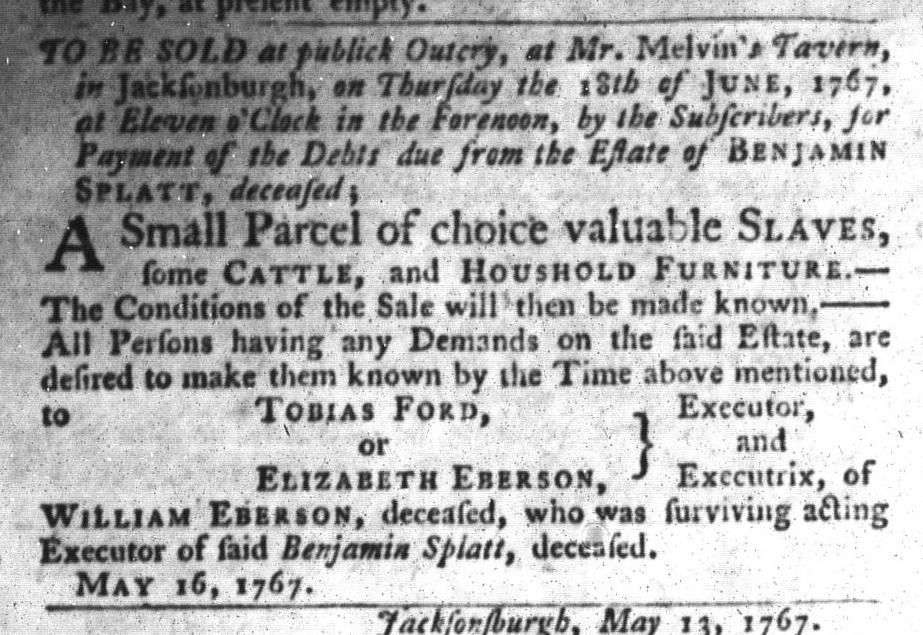 May 26 - South-Carolina Gazette and Country Journal Slavery 9