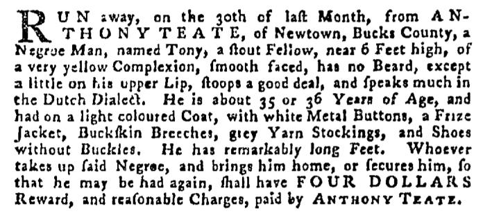 May 28 - Pennsylvania Gazette Supplement Slavery 4