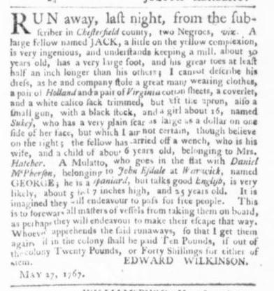 May 28 - Virginia Gazette Slavery 1