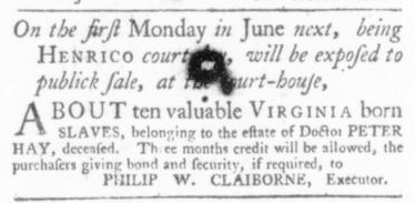 May 28 - Virginia Gazette Slavery 3