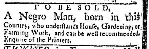 May 4 - Boston Evening-Post Slavery 1
